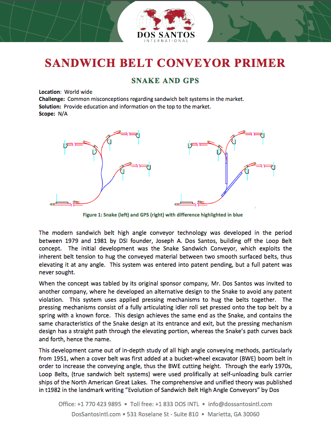 Sandwich Belt Conveyor Primer from Bulk Materials Experts at Dos Santos International