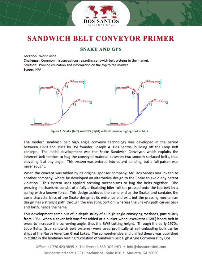 Sandwich Belt Conveyor Primer from Bulk Materials Experts at Dos Santos International