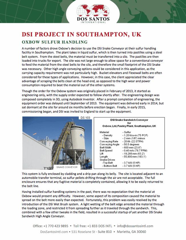 Oxbow Sulfur Handling DSI Project