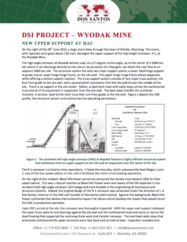 Wyodak Mine Upper Support at HAC Project